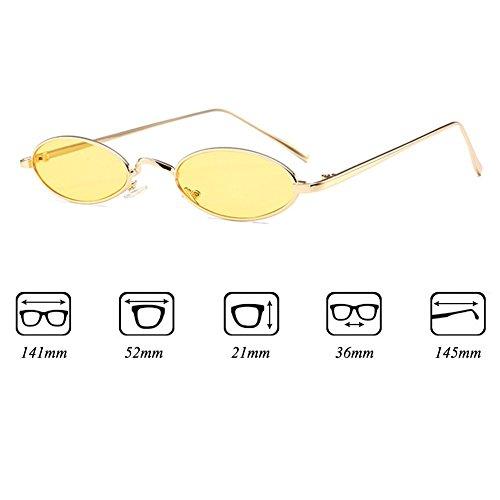 lunettes femmes ovales de Red soleil Huang Yellow Retro pour Vintage Metal lunettes Petites hommes soleil Frame de qxwOgnCx4