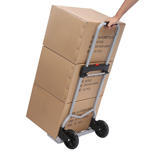 Folding Hand Truck/Assisted Hand Truck/Cart 220lbs Lightweight Portable Fold UpDolly Foldable Wheelsfor Luggage, Personal, Travel, Auto, Moving and Office Use by Elomes (Image #6)