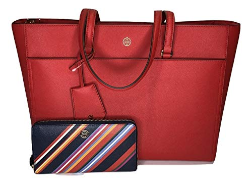 Tory Burch Robinson Tote bundled with matching Zip Continental Wallet (Brilliant Red//Vivid Stripe) (Tory Burch Robinson Double Zip Continental Wallet)