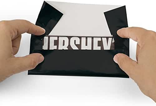 Foil Wrapper (Black) - Pack of 100 Candy Bar Wrappers with Thick Paper Backing - Folds and Wraps Well - Best for Wrapping 1.55Oz Hershey/ Candies/ Chocolate Bars/ Gifts - Size 6