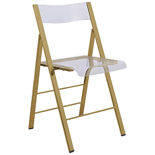 LeisureMod Milden Modern Acrylic Folding Chairs (Gold)