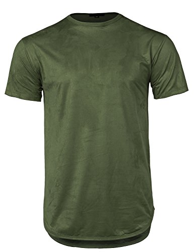 Longline Suede Crew Neck Rounded Hem Short Sleeves T-Shirt Top Olive XL