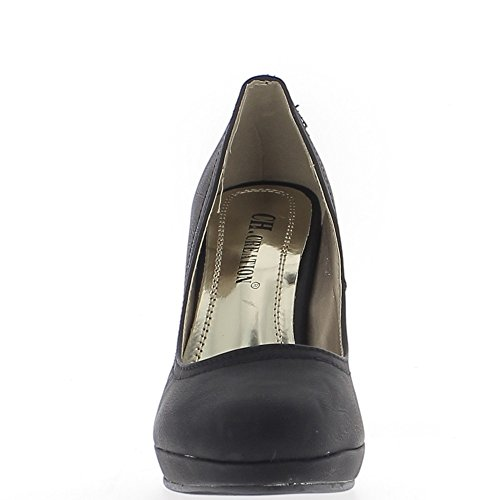 Escarpins femme noirs mat talon de 11cm et plateforme