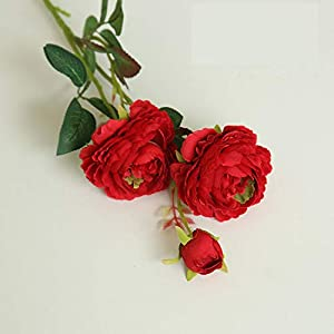 MZjJPN 61cm Long European Artificial Flower 3 Head Home Silk Peony Wedding Flower Foreign Rose Decorative Flower Party Decor 1pcs,6 31