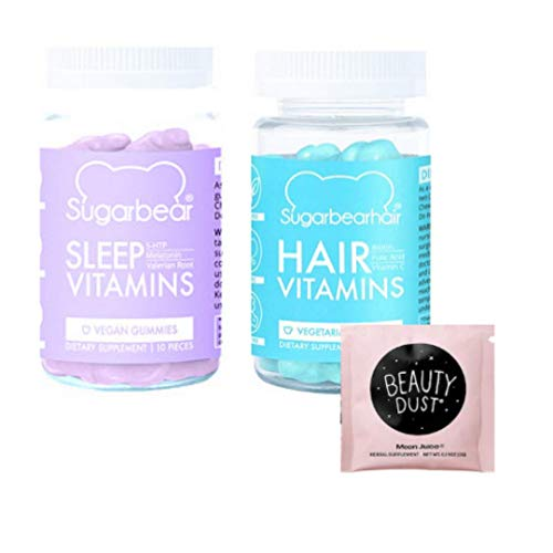 Hair & Sleep Vitamins Mini Gummy Set of 2! Beauty Dust Sample Included! Vegetarian Gummy Hair Multivitamins! Formulated with Biotin, and Vitamin D! No Gelatin,Dairy or Gluten! 20 Count Total (Best Vitamins For Sleep)