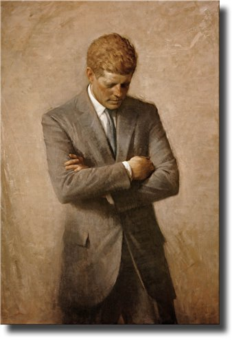 ArtWorks Decor John F. Kennedy Full Portrait, JFK Picture on Stretched Canvas, Ready to -