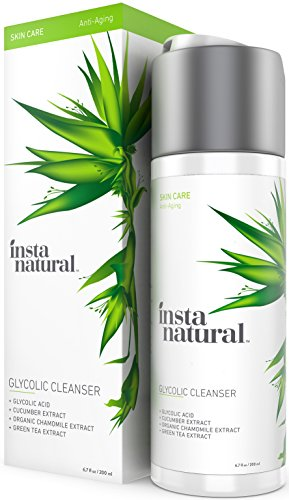 InstaNatural Glycolic Facial Cleanser - Anti Wrinkle, Fine Line, Age Spot & Hyperpigmentation Face Wash - Clear Dead Skin & Pores - With Glycolic Acid, Organic Extract Blend & Arginine - 6.7 OZ (Aqua Mist Bar)