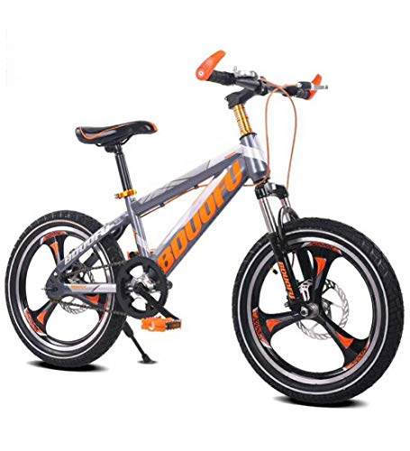 Aon-MX Kids' Bikes Disc Brake One Wheel Bicycle 16\18\20 Raytheon Disc Brake Kids Bike with Dual Disc Brake for Boy and Girl(Gray-Orange),18inch