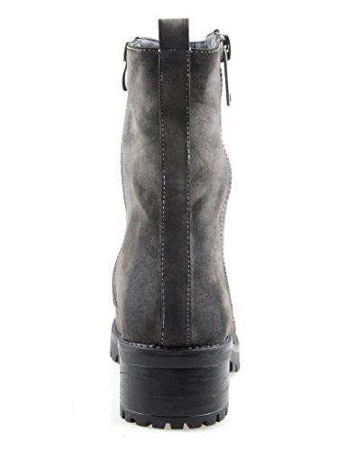 Eyekepper mujeres está completamente forrada de piel de invierno botas de doble cremallera lateral Gris