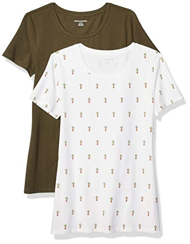 Amazon Essentials Women's 2-Pack Classic-Fit Short-Sleeve Crewneck T-Shirt, Cactus Print/Olive, XS