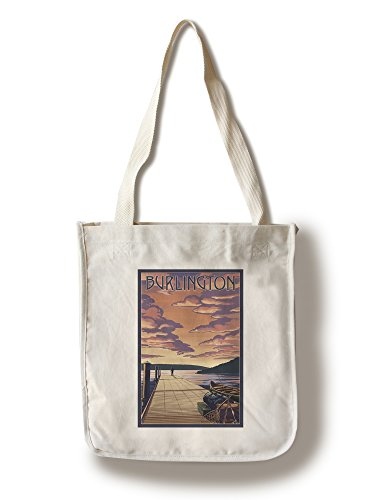 Burlington, Vermont - Dock and Sunset (100% Cotton Tote Bag - - Burlington Vermont Shopping
