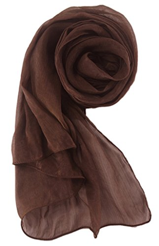 Alivila.Y Fashion Womens Silk Bridal Bridesmaid Evening Scarf Shawl-Brown Silk