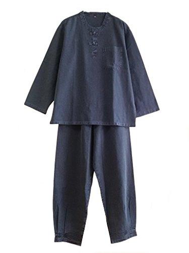 Altair Men Women 100% Cotton Shirt Pants Buddhist Zen Meditation Clothing, Temple Clothing (Black, XXL) (Hanbok Men)