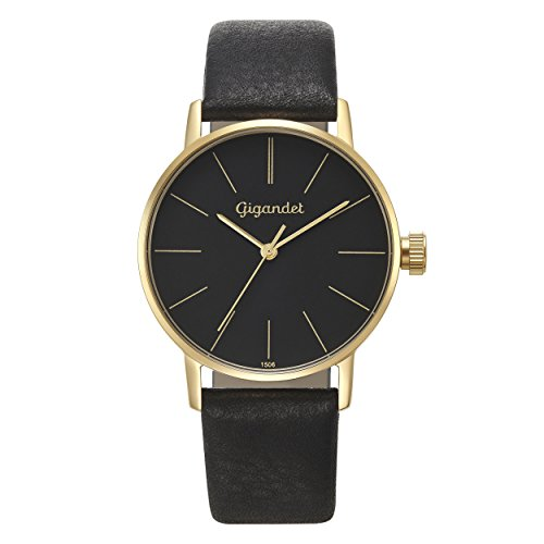 Gigandet Women's Quartz Watch Minimalism Analog Leather Strap Black Gold G43-017