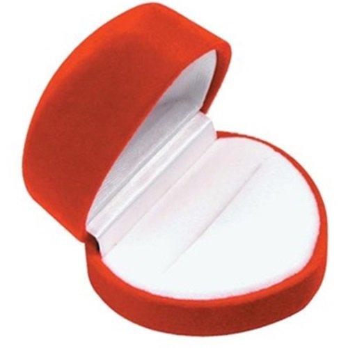 Red Heart Shaped Velvet Ring Jewelry Gift - Box Ring Heart Shaped