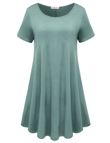 BELAROI Womens Comfy Swing Tunic Short Sleeve Solid T-Shirt Dress (S, Grayish Green)]()