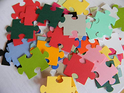 100 mixed puzzle piece pieces die cuts confetti party supplies scrapbooking ()