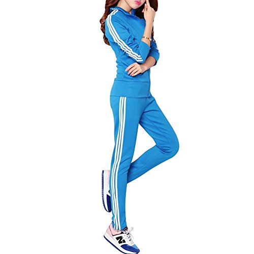 Your Gallery Women's Stripe Pattern Zip up Long Sleeve Sports Suit Tracksuit X-Large Blue