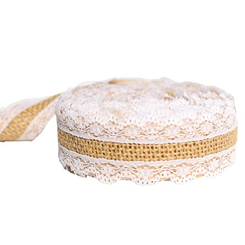 Burlap Ribbon Roll with White Lace Trims, 1