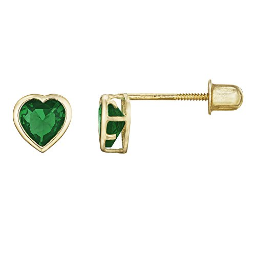 Emerald Ring 14kt Gold Jewelry (14kt Solid Gold Kids Heart Stud Screwback Earrings - Emerald Green)