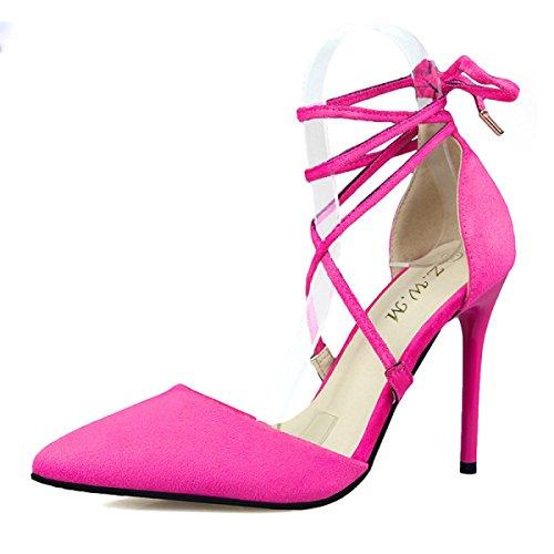 GRRONG Zapatos De La Mujer Señaló Correas Cruzadas Ante Arco Zapatos De Tacón Alto RoseRed