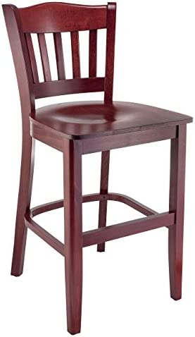 Beechwood Mountain BSD-28BW24-M Solid Beech Wood Kitchen and Dining Counter Stool with Wood Seat, Mahogany