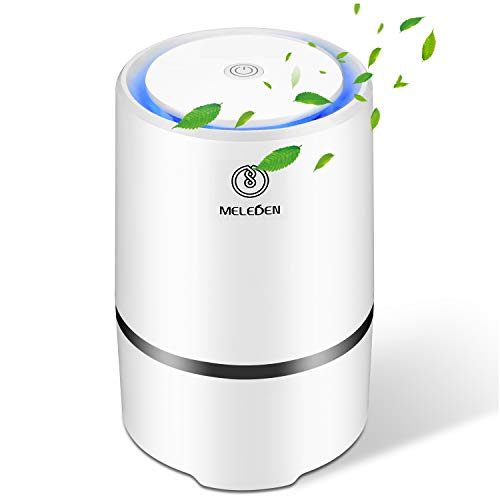 Meleden Portable Air Purifier with True HEPA & Active Carbon Filters, Compact Purifier Filtration with Led Night Light, Desktop USB Air Cleaner, PM2.5 Eliminator Cleaner for Allergies and Pets, Home