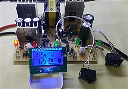 a2zteco 12/24 V Lead Acid Battery Smart Charger PCB/Circuit Board DIY Kit  with LCD Display Meter -Reverse, Short Circuit Protection