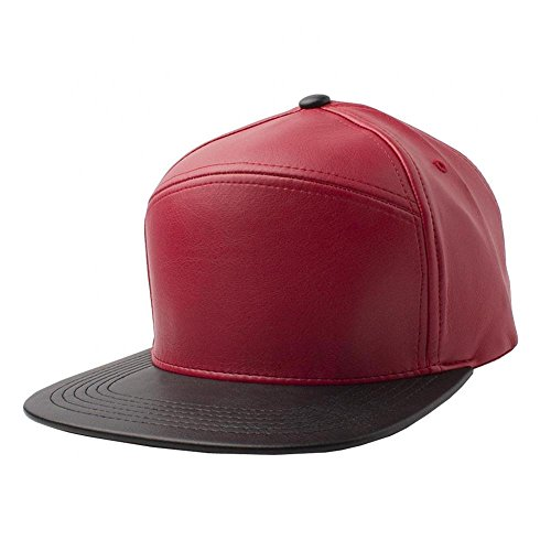 Red/Black-NEW Plain Flat Bill Faux Leather Snapback Panel Hat Baseball Cap Hip Hop Adjustable (US Seller)