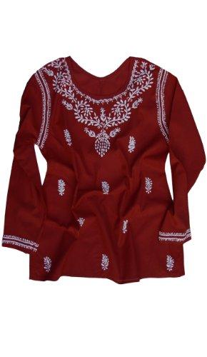 - Ayurvastram Cotton Tunic: White Emb On Red; SZ 30