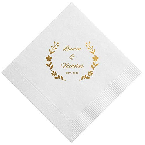 Personalized Beverage Napkins with name for Rehearsal Dinner Wedding Custom Monogram Hashtag 257