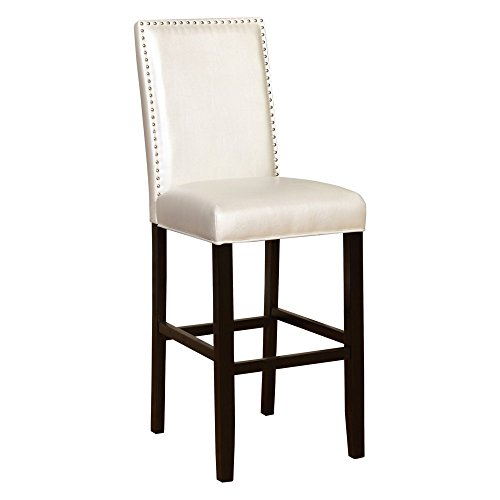 High-back Barstool in Shiny Pearl