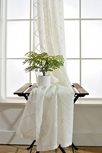 WPKIRA Rod Pocket Top Elegant Simple Light Flow Embroidered Faux-Linen Diamond Lattice Pattern Voile Sheer Window Panel Drapes Curtains Tulle For Bedroom 1 Panel 52 Inch Width by 84 Inch Length