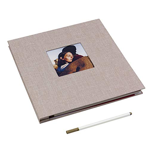 (Self Adhesive Photo Album Magnetic Scrapbook Album 40 Magnetic Double Sided Pages Linen Hardcover DIY Photo Album Length 11 x Width 10.6 (Inches) with A Metallic Marker Pen (Beige))
