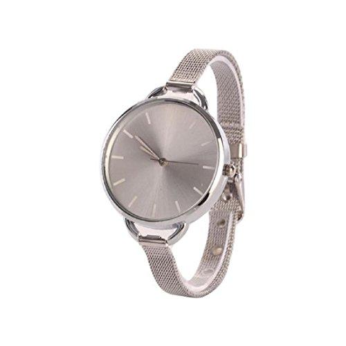 Hemlock Classic Womens Ladies Slim Mesh Band Quartz Bracelet Wristwatch Alloy Stainless Steel Silver