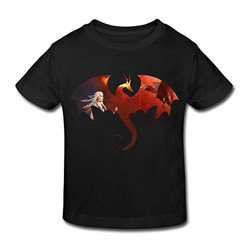 Age 2-6 Kids Toddler Game Thrones Daenerys Targaryen Dragon Little Boy's Girl's T Shirts Black Size 2 (Dragon Girl Game Of Thrones)