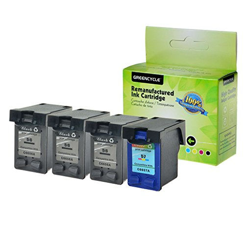 GREENCYCLE High Yield Remanufactured Ink Cartridge Compatible for HP 56 57 C6656AN C6657AN OfficeJet 4115 4211 4212 4215 4215v 4215xi 4219(3 Black,1 Color)