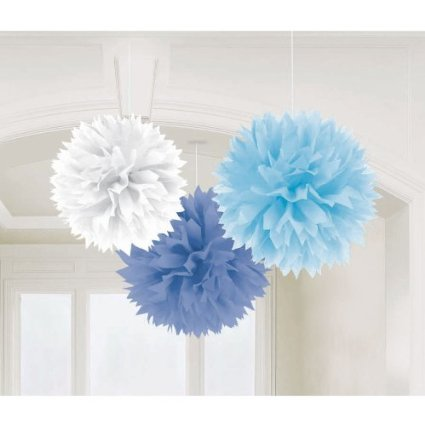 Boy Fluffy Baby Shower Hanging Decorations