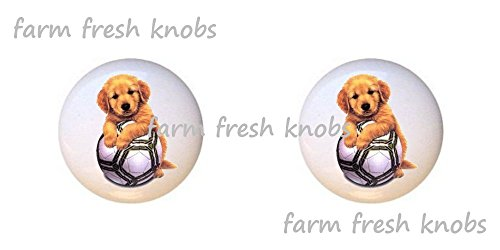 SET OF 2 KNOBS - Soccer Puppy Dog - Dogs - DECORATIVE Glossy CERAMIC Cupboard Cabinet PULLS Dresser Drawer KNOBS