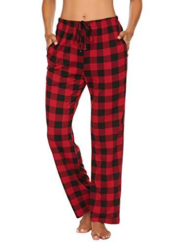 Doneto Damen Schlafanzughose Pyjama Hose Lang Soft Flanell Plaid Schlaf Bottoms mit elastischer Taille (Rot Größe:XL)