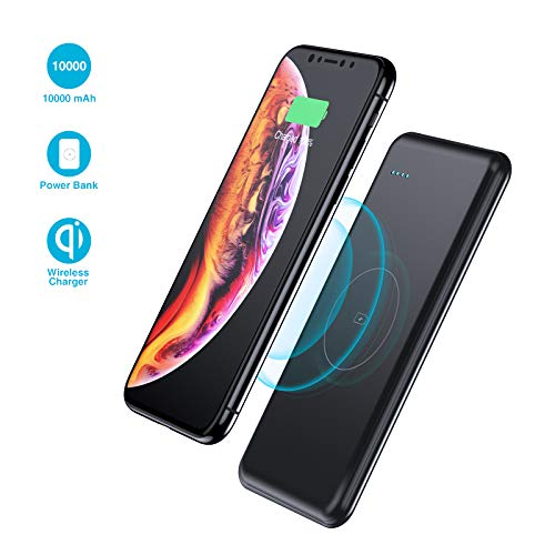 Wireless Portable Charger,10000mAh Fast Charging Power Bank QI Battery Charger Pad External Battery Pack Compatible with iPhone 8/8 Plus,Samaung S7 S8 S9,Note 7 8,iPhone X