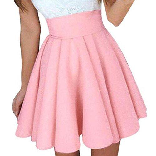 Jupes Taille Rose Mode Sauvage Pure Couleur Haute PlissE ADESHOP Fluffy Robes Jupe Jupe Dames Mini Jupe Femmes Femmes T DContractE TrapZe 5WqFcZ