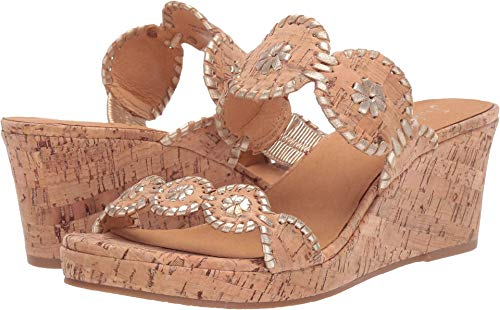(Jack Rogers Women's Lauren Mid Wedge Cork/Gold 7.5 M US )