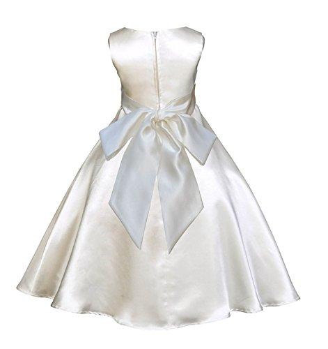 Ivory Satin A-Line Flower Girl Dress Holy Baptism