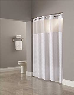 Hookless RBH40MY831 Fabric Shower Curtain With Snap In PEVA Liner