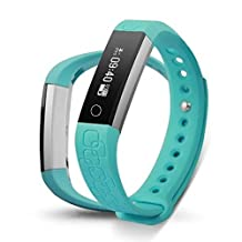 Epiktec Touch Screen Fitness Tracking Wristband - Multi-Functional DayFit 2.0 Heart Rate Smartband | Waterproof Health Monitor Band for Regular Activity - Light Blue