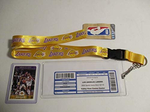 LOS ANGELES LAKERS GOLD LANYARD WITH TICKET HOLDER PLUS LeBRON JAMES 1ST GAME PLAYED AS A LAKER ACTUAL GAME PRINTED TICKET (9-30- 18) AND LAKER PLAYER CARD