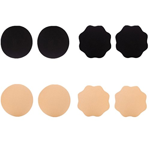 Mayuber Pasties Reusable Adhesive Nipple Cover Set Invisible Breast Petal(3-4 Pairs)