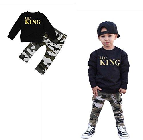 Lil' King 英語文字 2点セット(上着+パンツ) 男女兼用 子供服 男の子 赤ちゃん服 幼児 女の子 長袖 5サイズ キッズ服 80CM-90CM-100CM-110CM-120CM(1歳-5歳) (100CM/3歳, 写真のように)