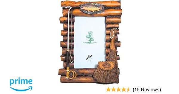 Amazon.com - Rustic Wood Log Photo Frame with Fishing Theme Accents ...